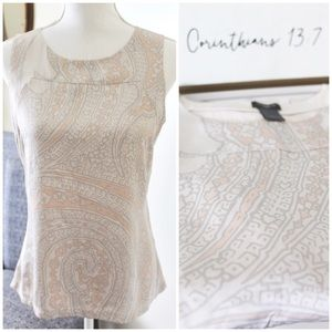ANN TAYLOR / Patterned Peach & Champagne Top
